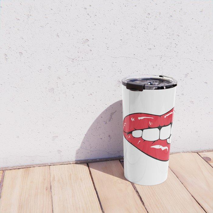 Red Lips Pop art Travel Mug