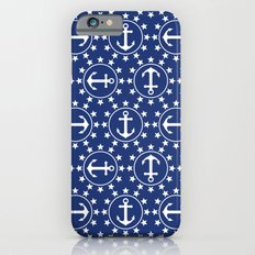White Anchors & Stars Pattern on Navy Blue Slim Case iPhone 6s