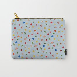 Heart Floral (Blue) Carry-All Pouch