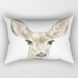 Doe Deer Watercolor Painting Fine Art Rectangular Pillow