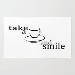 Take a coffee and smile Rug
