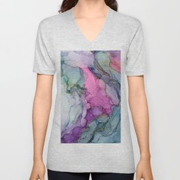 Enchanted Ethereal Forest Abstract Ink Painting Unisex V-Neck