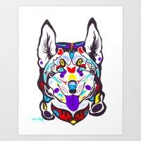 husky Art Prints featuring Husky  by PastelxPalette