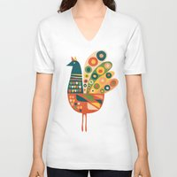 mid century V-neck T-shirts featuring Century Hen by Picomodi