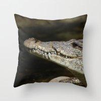 crocodile Throw Pillows featuring Crocodile  by Bunny+Bear Photography