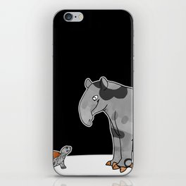 Tapir meets Turtle, Cute Animal Illustration, Black & White with Copper Metallic Accent Funny Turtle iPhone Skin