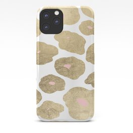 Elegant pink faux gold abstract leopard animal print iPhone Case