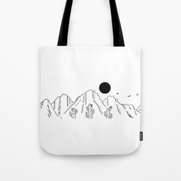 Desert Cacti Mountain Range Landscape Scene Illustration Tote Bag