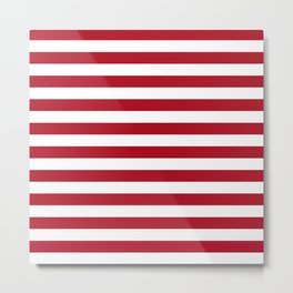 Horizontal Stripes in Red and White Metal Print