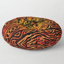 Textured Ethnic and Animal Print and Lion Floor Pillow