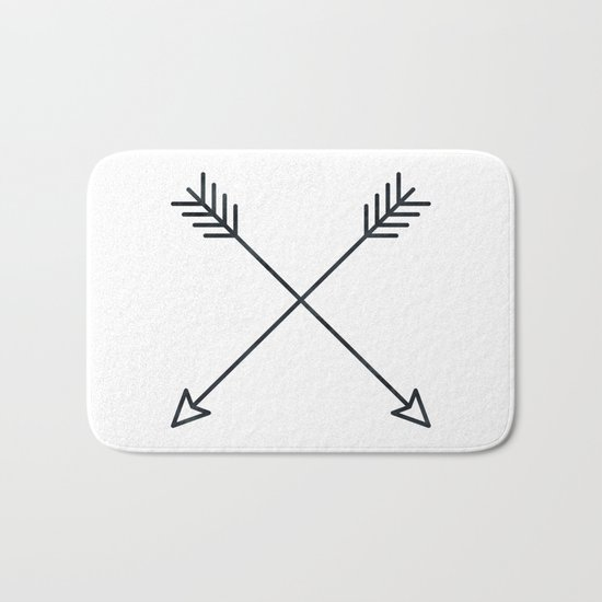 Arrows - Black and White Arrow Adventure Wanderlust Vintage Compass Design Bath Mat