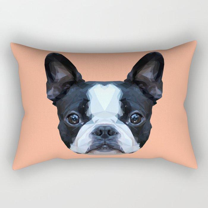 Frenchie / Boston Terrier // Peach / Apricot Rectangular Pillow