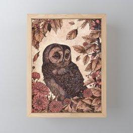 Tawny Owl Pink Framed Mini Art Print