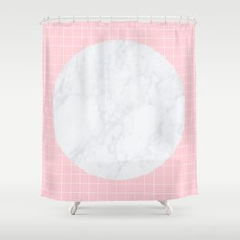 Pink, Grid & Marble Moon Shower Curtain