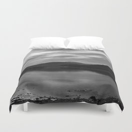 View over the Loch b/w Duvet Cover