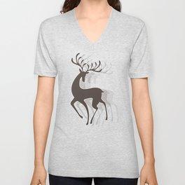 Dancing Deer - Black & White Unisex V-Neck
