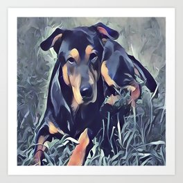 Black and Tan Coonhound Puppy Art Print