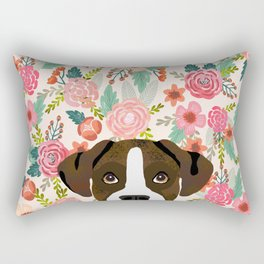 Boxer dog breed floral pattern background pet gifts dog breed dog mom gifts Rectangular Pillow