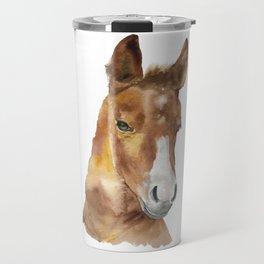 Horse Head Watercolor Travel Mug