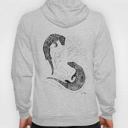 Swimming Otters Linoprint Hoody