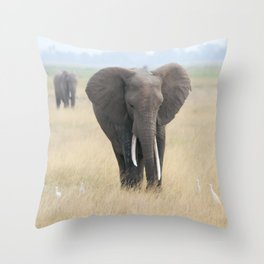 elephants and egrets Throw Pillow