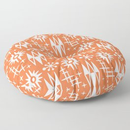 Mid Century Modern Atomic Space Age Pattern Orange Floor Pillow