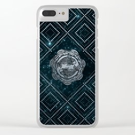 Pisces Zodiac Silver Embossed on the Star sky Clear iPhone Case