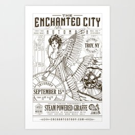 The Enchanted City 2018 Poster, black and white Art Print