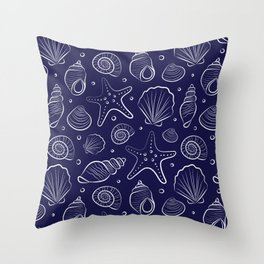 Sea shells illustration. Navy blue and white. Summer ocean beach print. Throw Pillow