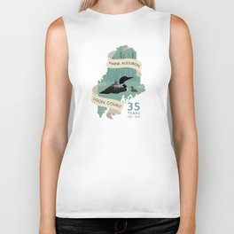 Maine Audubon Loon Count 35 Years Biker Tank
