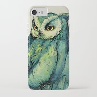 background iPhone & iPod Cases featuring Green Owl by Teagan White