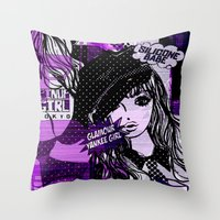 police Throw Pillows featuring POLICE WOMEN by Chandelina