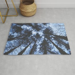 BLUE SERIES Looking Up At Trees, Blue wall-art, Nature, Forest, Trees, Photography Rug