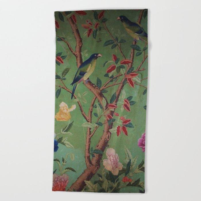 Green Dream Chinoiserie Beach Towel