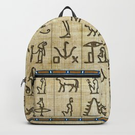 Ancient Egyptian Hieroglyphs on Papyrus Backpack
