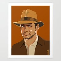 indiana jones Art Prints featuring Indiana Jones by Aimee Liwag