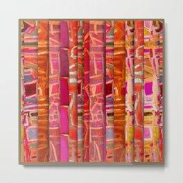 NUMBER 195 orange pink red pattern Metal Print