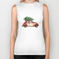 volkswagen Biker Tanks featuring Christmas Volkswagen Bug  by Emily Frazier