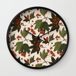 Berry rowan winter floral print  Wall Clock