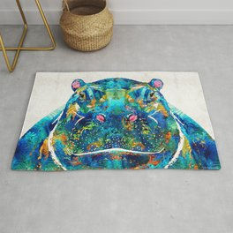 Hippopotamus Art - Happy Hippo - By Sharon Cummings Rug