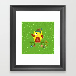 Cute Owl sitting on a branch with christmas baubles, Winter, X-mas Design Framed Art Print