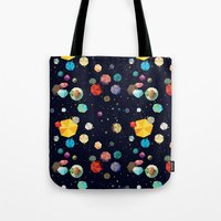 low poly Tote Bags featuring Low Poly Space by Evan Smith