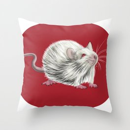 Little white mouse on red digital drawing Throw Pillow