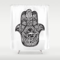 hamsa Shower Curtains featuring Hamsa by creative.court