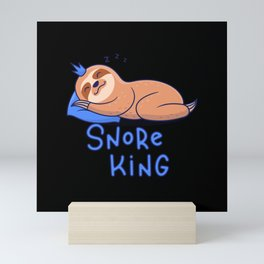 Snore King Sloth Seep Cute Mini Art Print