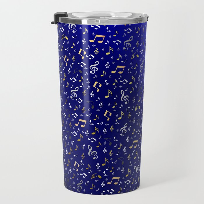 silver,gold,metall music notes in blue Travel Mug