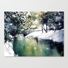 Running water down below in the dark, frozen forest Canvas Print