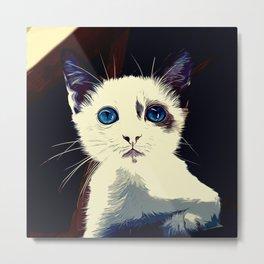 cute cat blue eyes vector art foggy night Metal Print