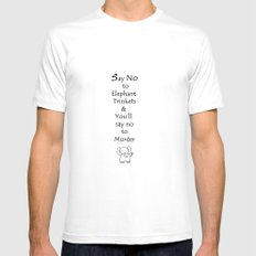 Say No to Elephant Trinkets MEDIUM Mens Fitted Tee White