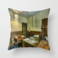 the office Throw Pillows featuring Antique Office by Ian Mitchell